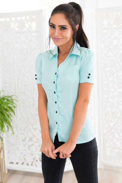 Seascape Modest Button Front Blouse Tops vendor-unknown
