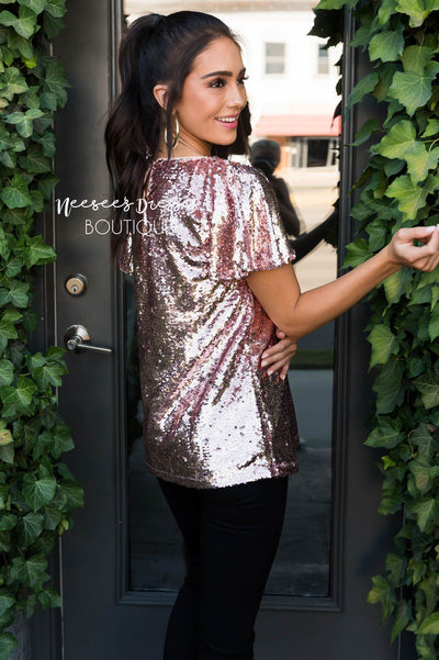 A Little Bling Modest Sequin Top Tops vendor-unknown