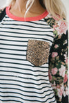 Sequin Pocket Striped Floral Sleeve Top Tops vendor-unknown