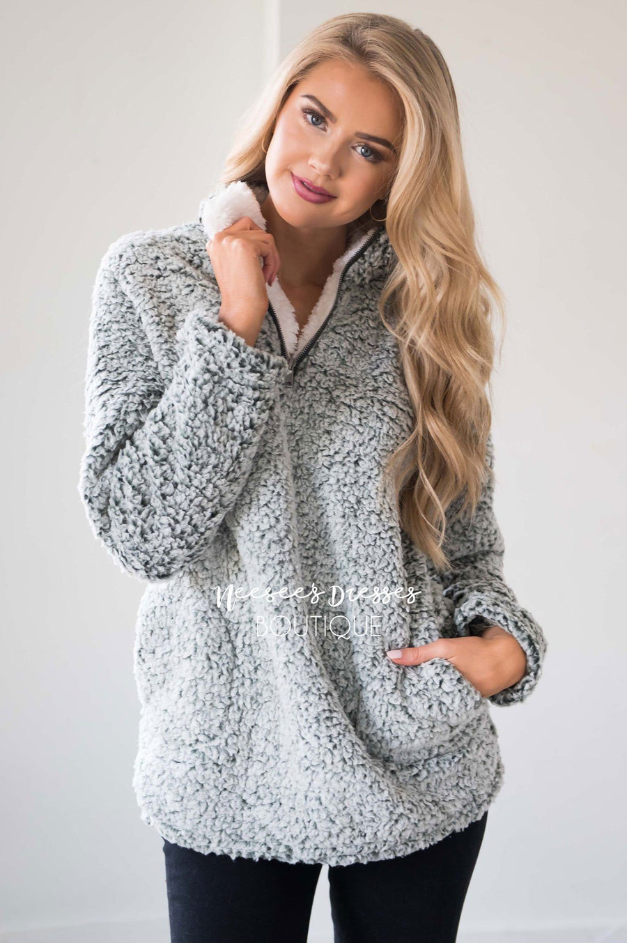 Sherpa Fleece Front Zip Sweater