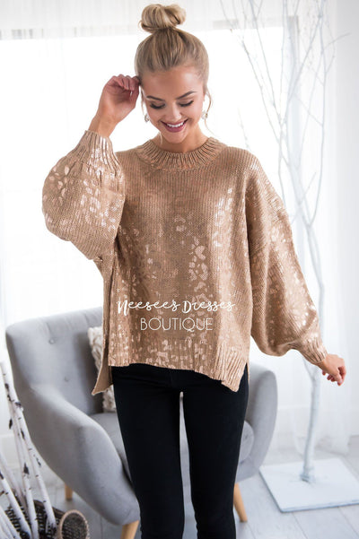 Show Stopper Animal Print Sweater Tops vendor-unknown
