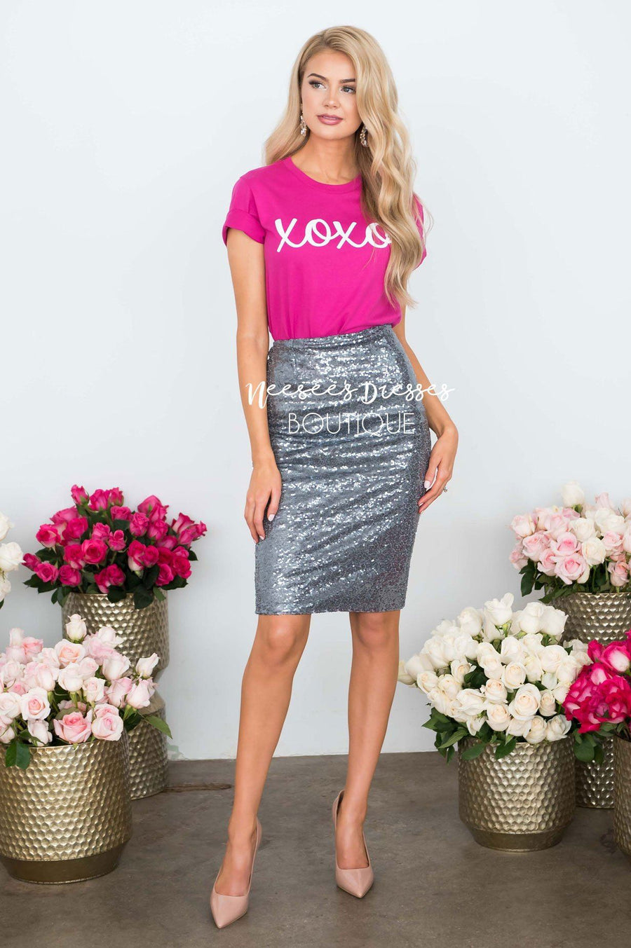 Covered in Sequins Silver Skirt