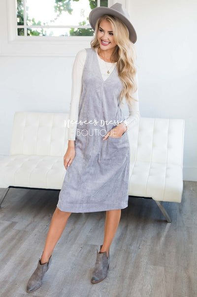 The Korina Patch Pocket Overall Dress Modest Dresses vendor-unknown