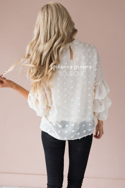 Simply Loved Swiss Dot Blouse Tops vendor-unknown