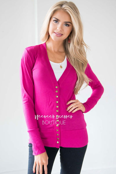 Snap Up Button Cardigan Tops vendor-unknown