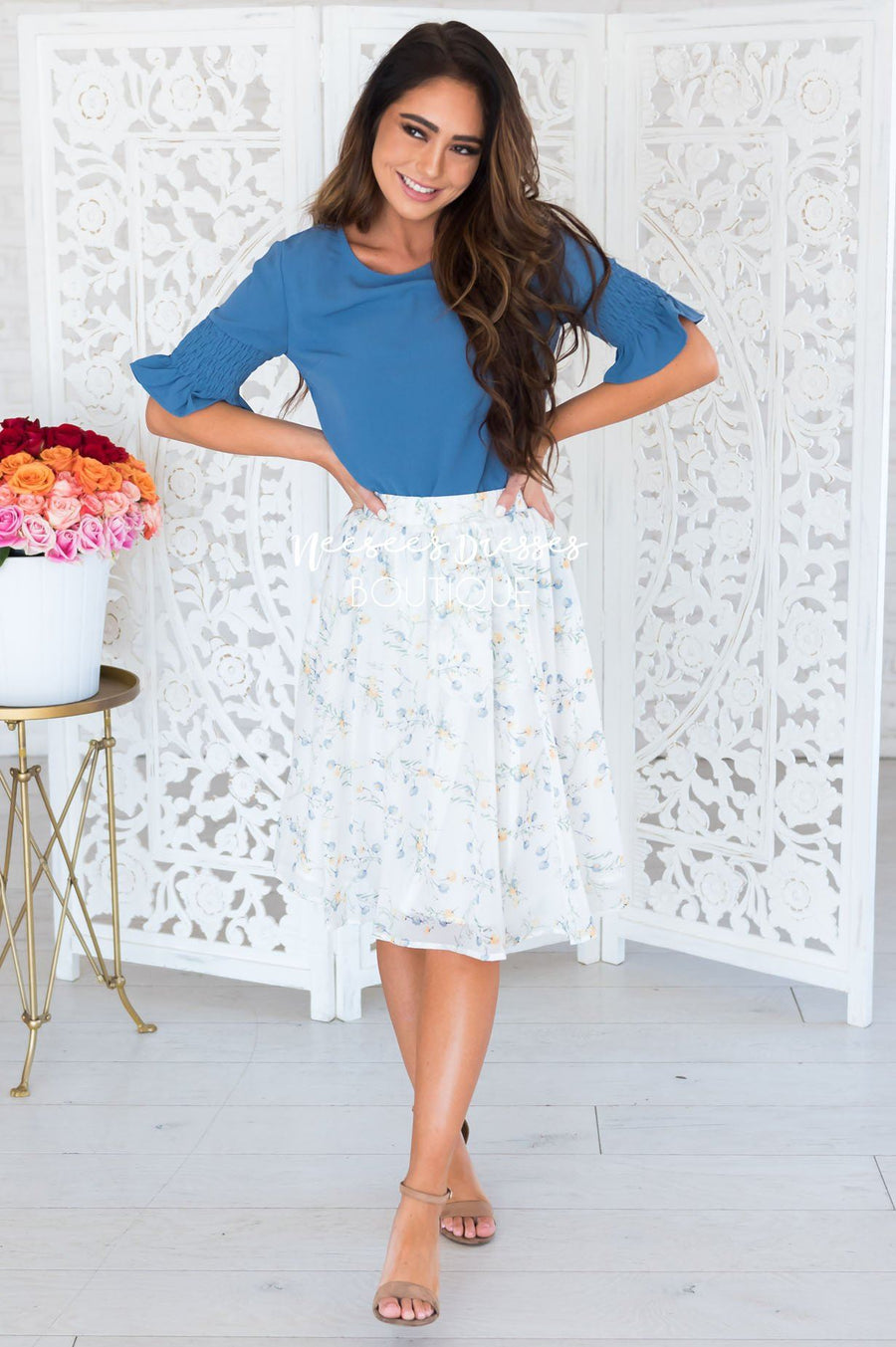Blue & Yellow Poppy Chiffon Skirt