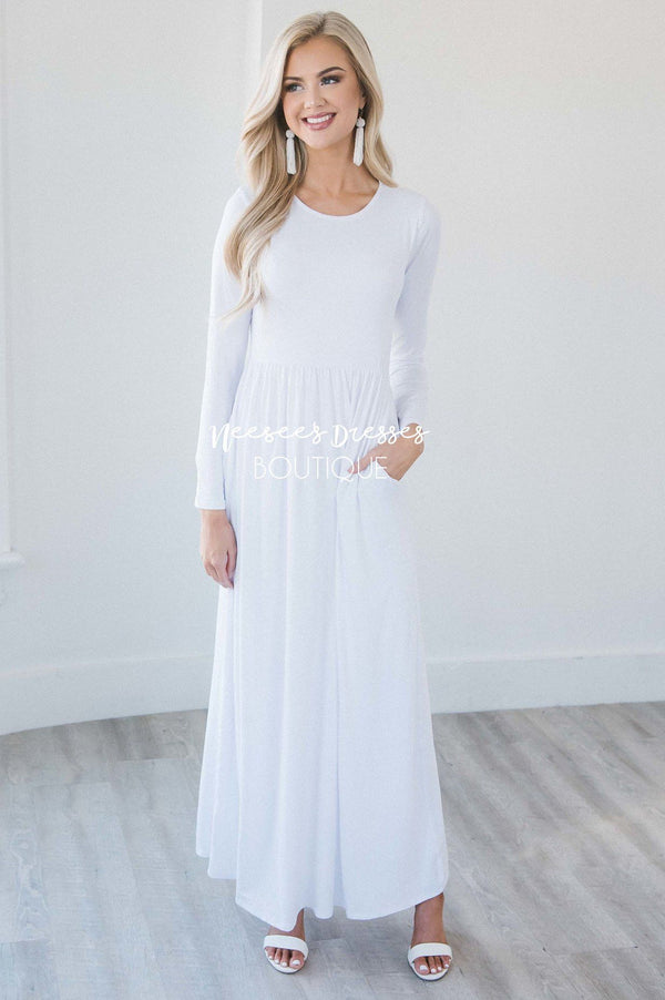 Solid White Temple Dress Modest Dress X on Swing Dance Shoes