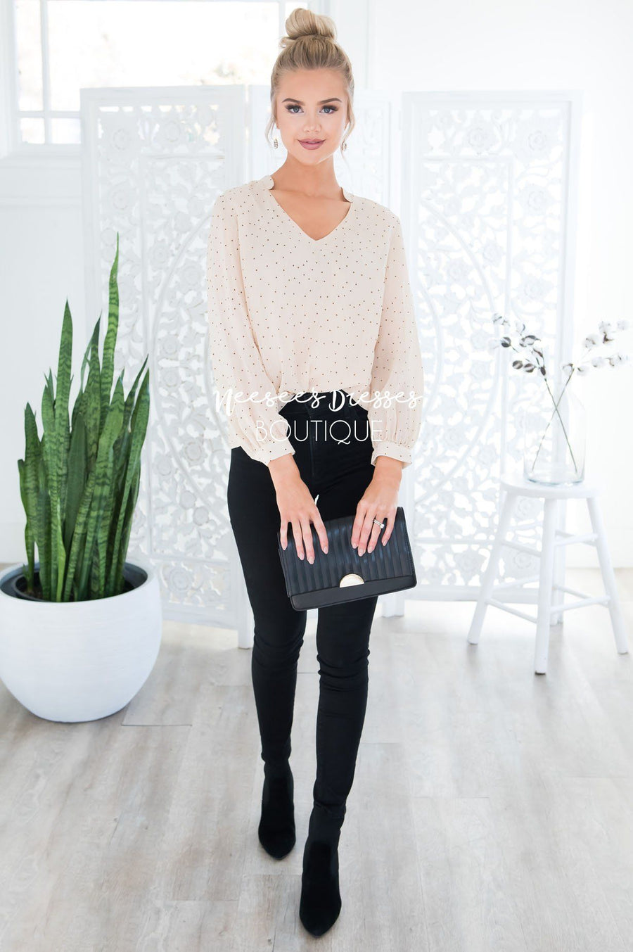Someday Sheer Dot Blouse Tops vendor-unknown