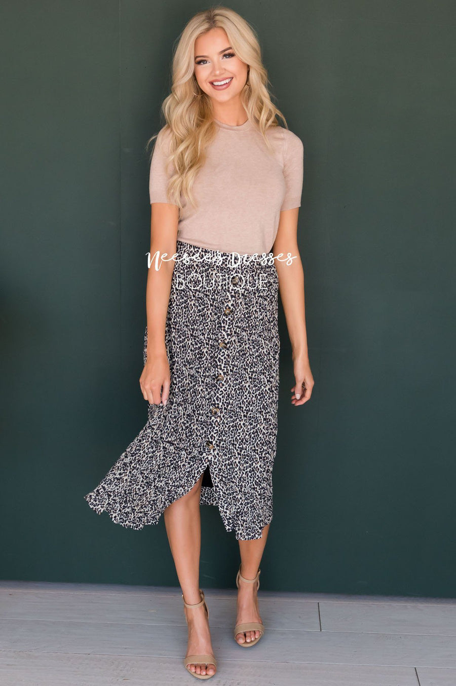 Spot On Button Skirt