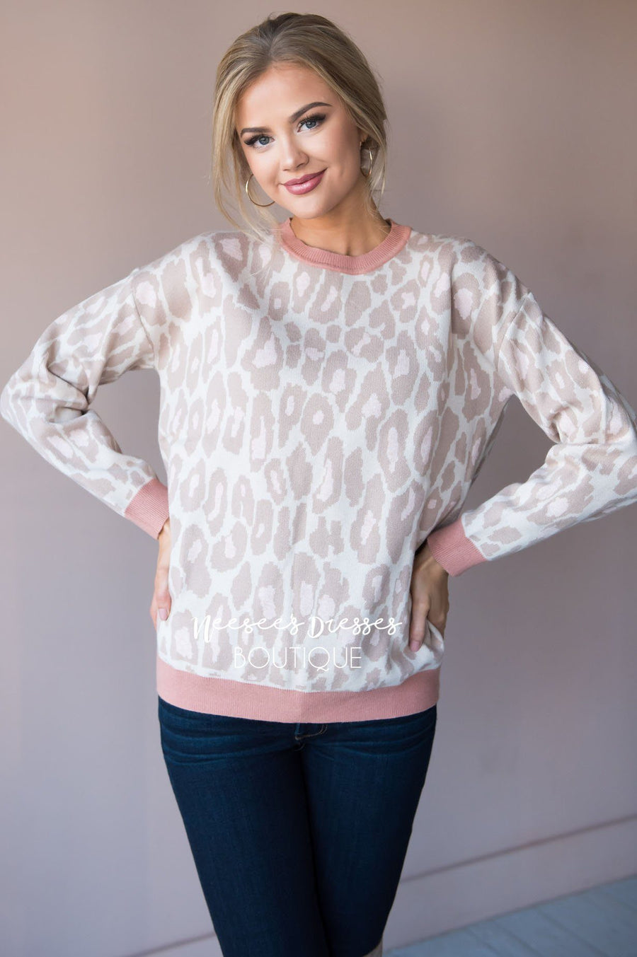 Stand By Me animal print sweater Tops vendor-unknown