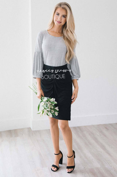 Black Twist Front Pencil Skirt Skirts vendor-unknown