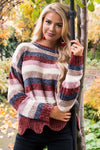 Striped Chenille Knit Scallop Hem Sweater Tops vendor-unknown