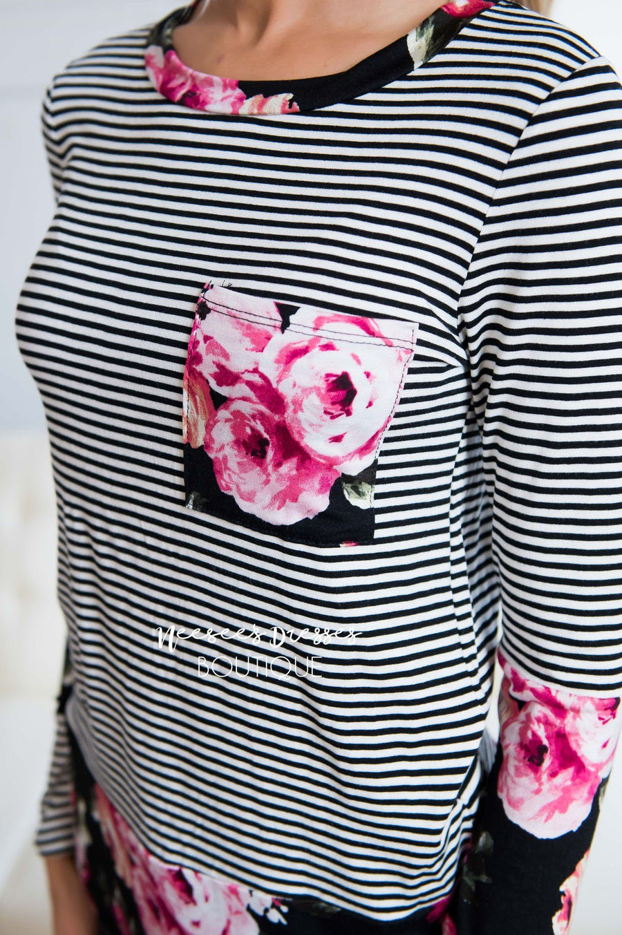 Blooming Blossom Floral & Striped Top Tops vendor-unknown