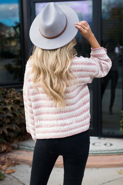 Striped Aline Bell Sleeve Sweater Tops vendor-unknown