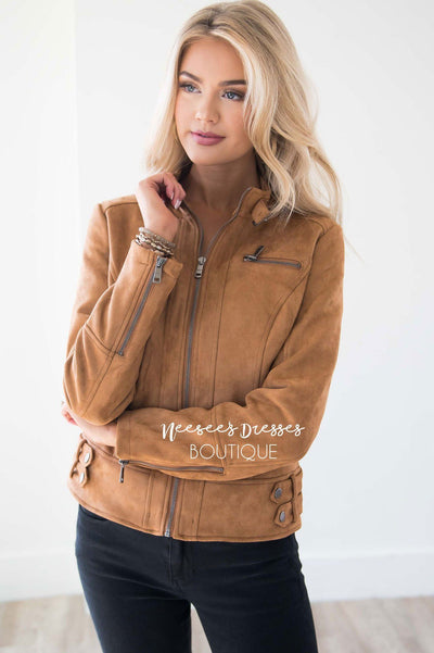 Weekend Moto Faux Suede Jacket Tops vendor-unknown