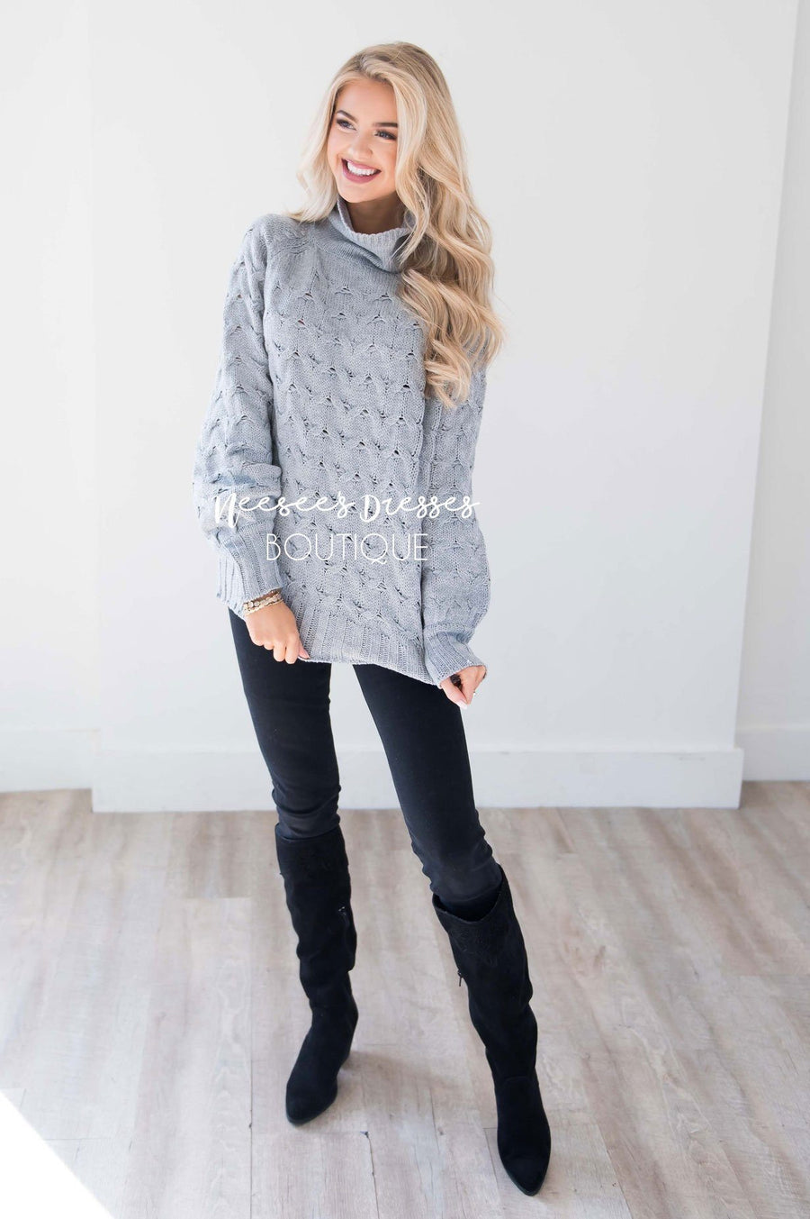 Ski Mountain Gray Chunky Sweater Tops vendor-unknown