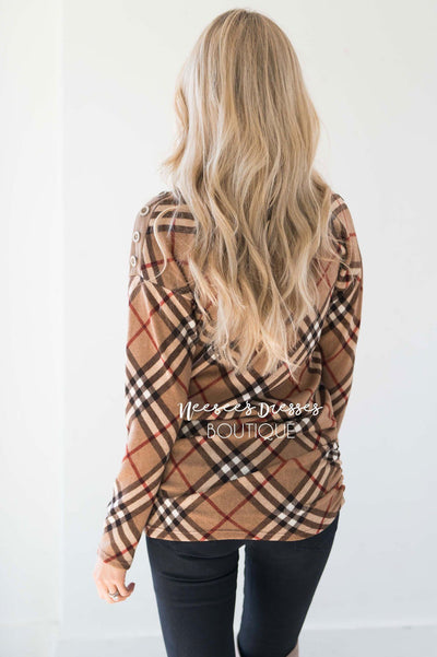 Plaid Sweater with Button Shoulders Tops vendor-unknown
