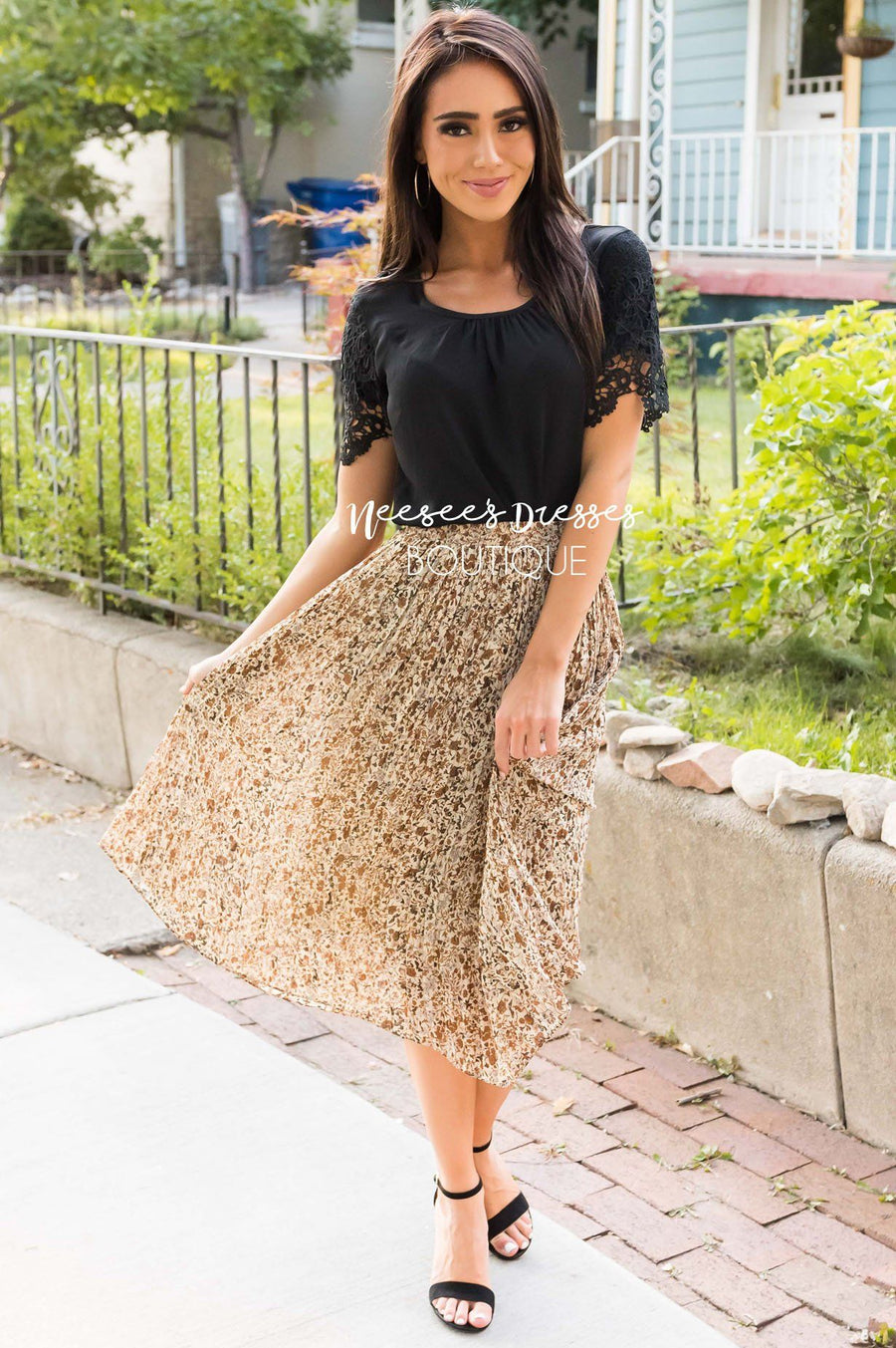 Fall Blooms Modest Pleat Skirt