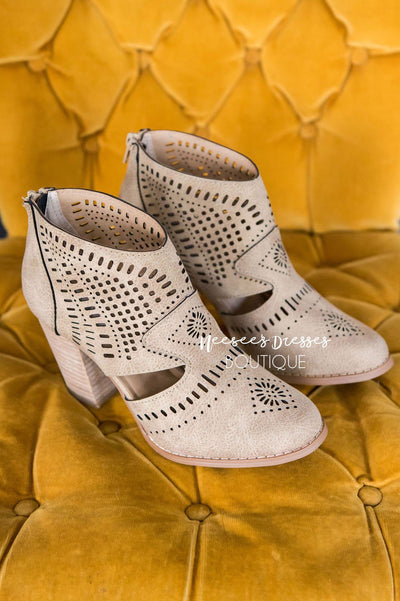 Hole In One Cutout Booties Accessories & Shoes vendor-unknown