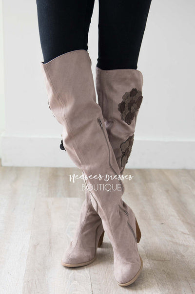 cf0ce4eaaff Alexis Floral Detail Taupe Boots Accessories   Shoes vendor-unknown