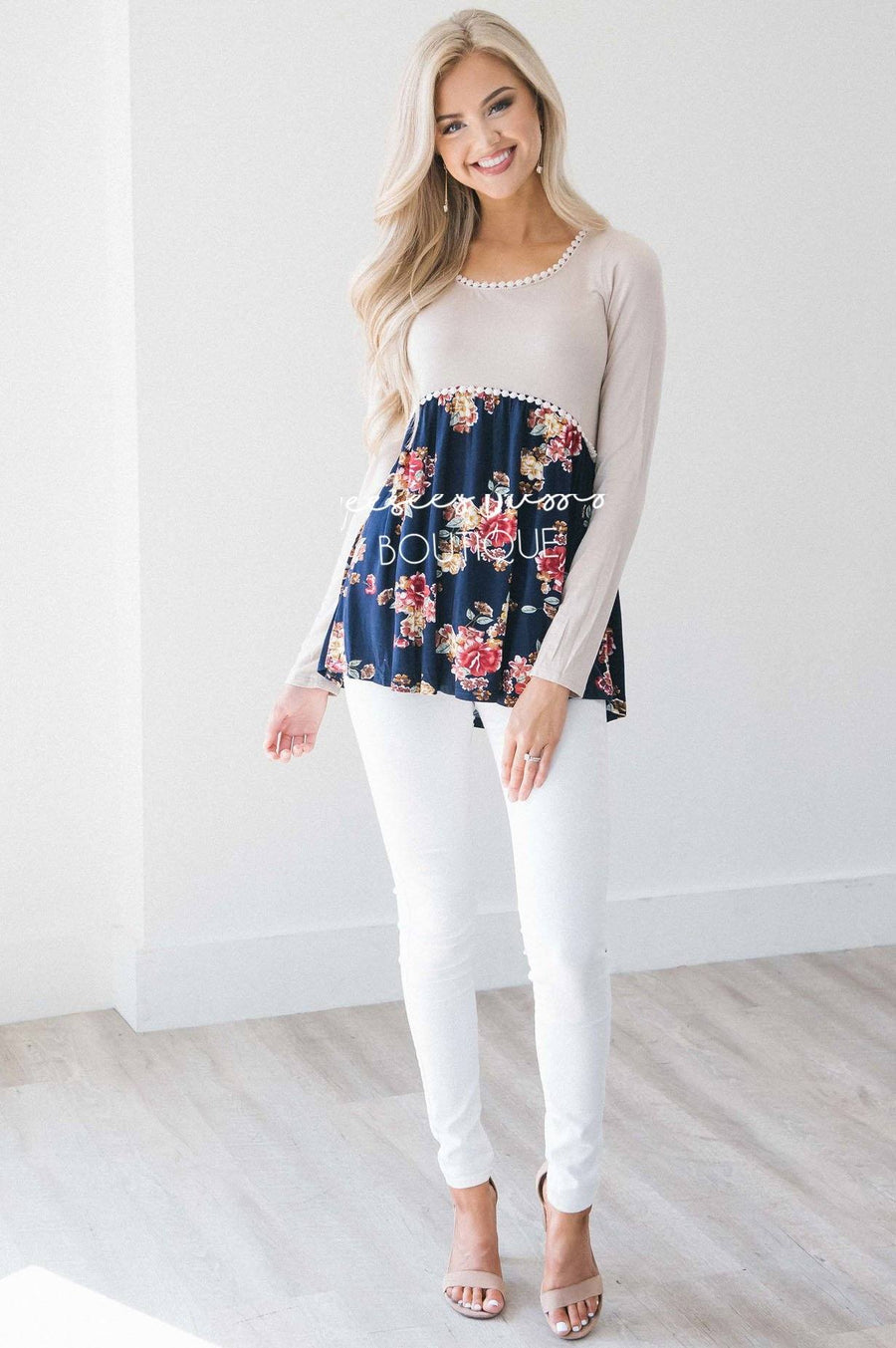 Taupe & Navy Floral Lace Trim Blouse