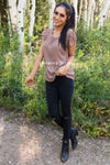Taupe Chiffon Tulip Sleeve Top Tops vendor-unknown