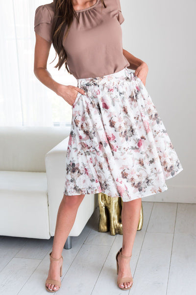 Textured Watercolor Fall Floral Skirt Skirts vendor-unknown