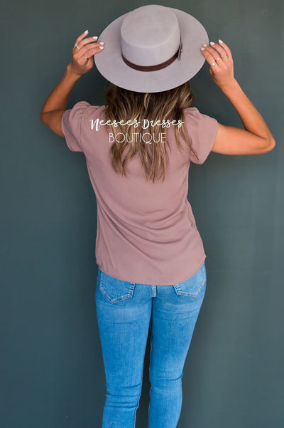 Taupe Chiffon Top Tops vendor-unknown