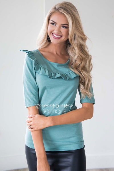 Let's Get Lost Ruffle Blouse Tops vendor-unknown
