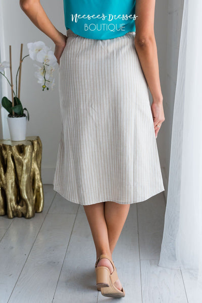 Until Next Time Striped Button Skirt Modest Dresses vendor-unknown