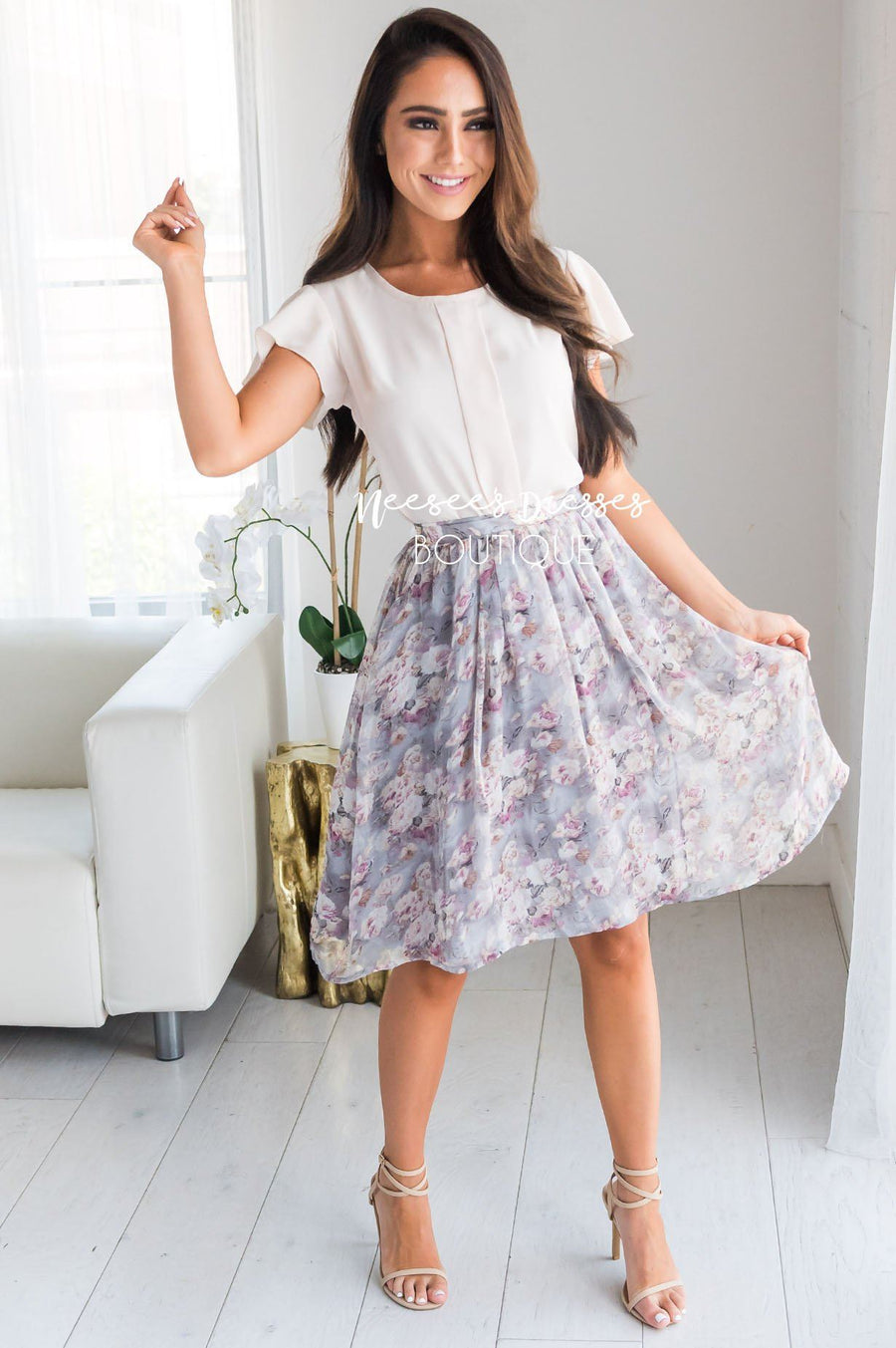 Twinkle Chiffon Gray Floral Pocket Skirt