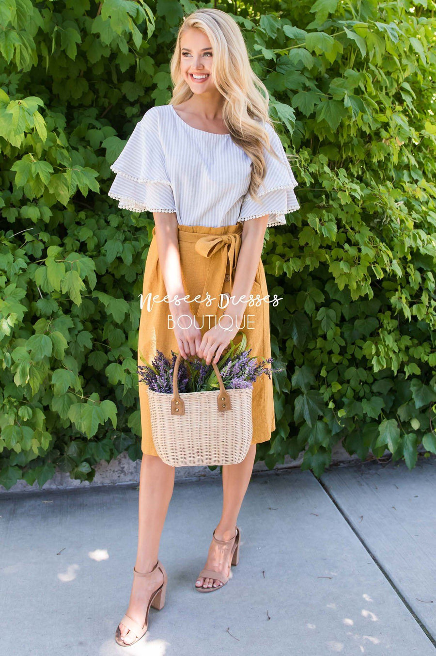 Lets Meet For Brunch Button Skirt