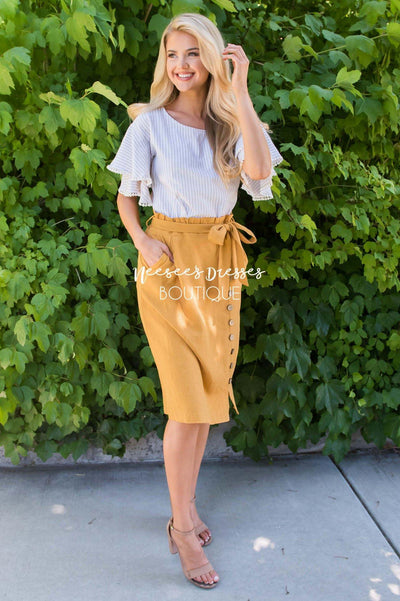 Lets Meet For Brunch Button Skirt Modest Dresses vendor-unknown