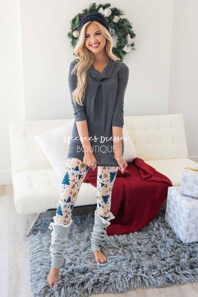 Navy Christmas Tree Print Leggings Accessories & Shoes vendor-unknown
