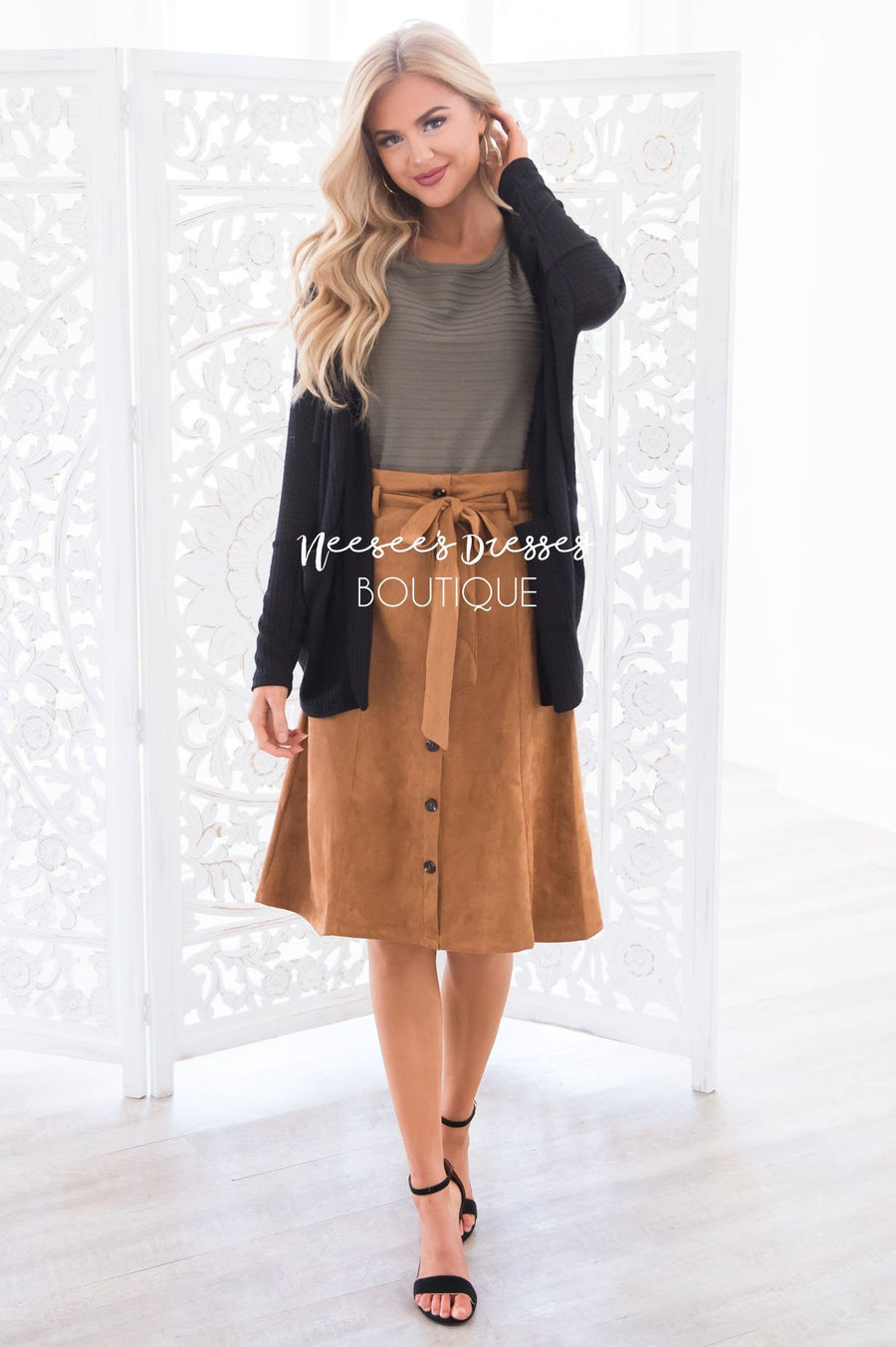 Trip to Tribeca Button Skirt