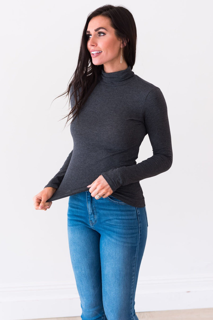 Get Close To Me Modest Turtleneck Tops vendor-unknown