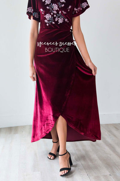 The Araceli Velvet Wrap Dress Modest Dresses vendor-unknown