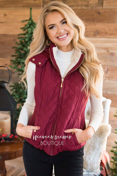 Fur Lined Quilted Vest Tops vendor-unknown