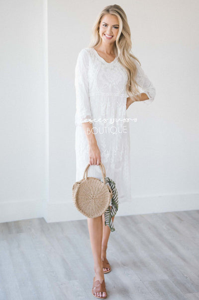 Day Dreamer Lace Dress in White Modest Dresses vendor-unknown