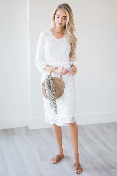 White floral lace modest dress modest bridesmaids dresses best day dreamer lace dress in white mightylinksfo