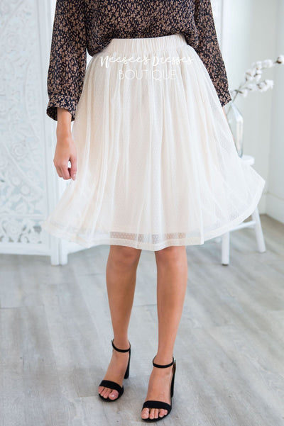 Cream Dotted Tulle Skirt Skirts vendor-unknown