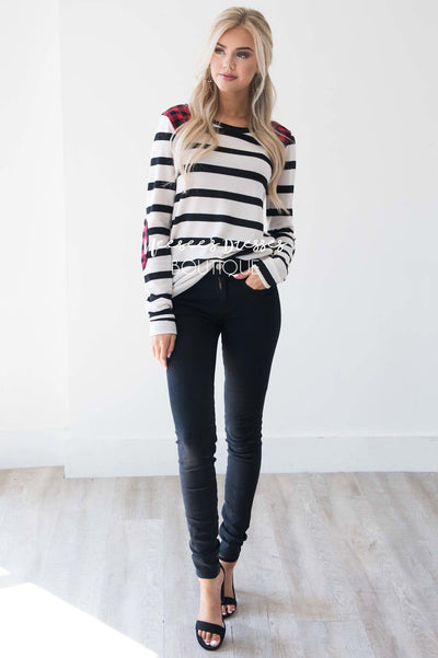 Charming As Can Be Striped Elbow Patch Sweater