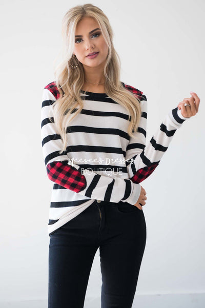 Charming As Can Be Striped Elbow Patch Sweater Tops vendor-unknown