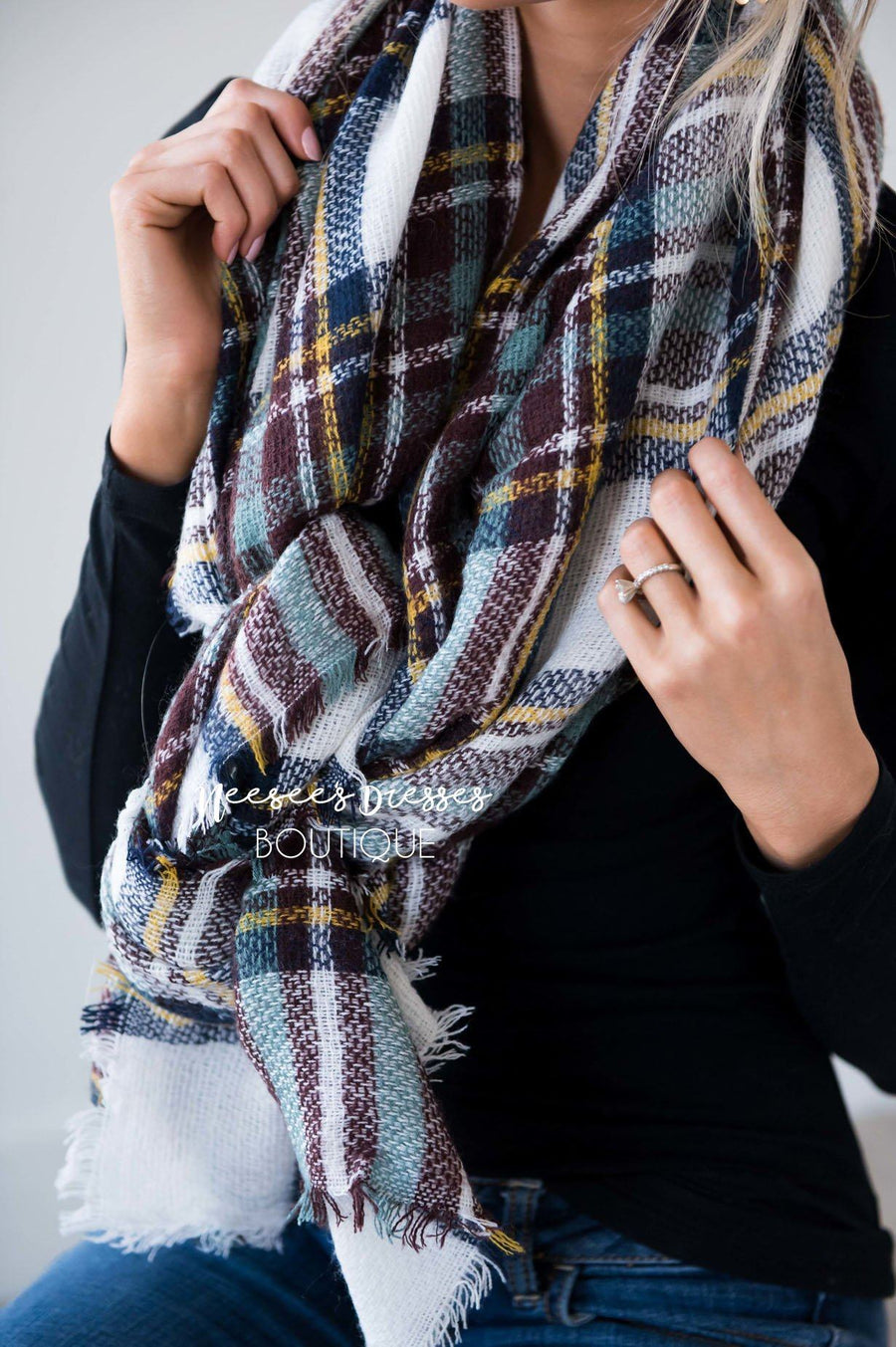 Checkmate Plaid Blanket Scarf
