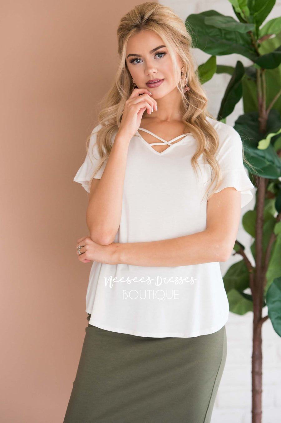 Criss Cross Flutter Sleeve Top