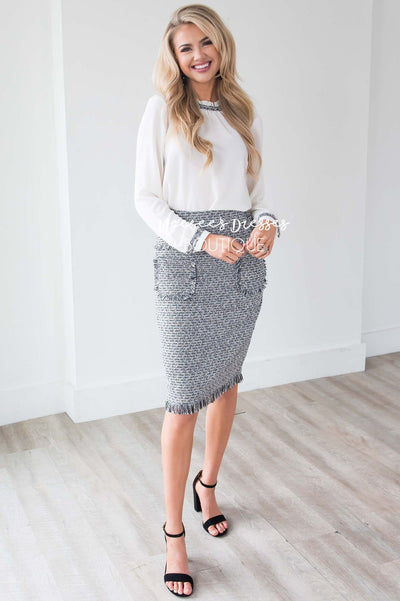 Tweed Patch Pocket Skirt Skirts vendor-unknown