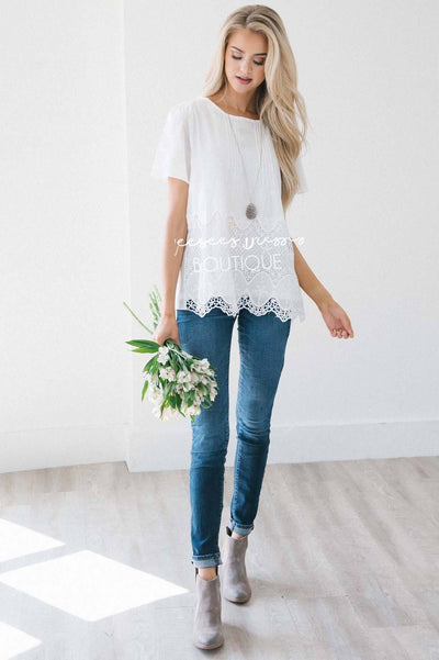 Flower Power Lace Trim Top Tops vendor-unknown