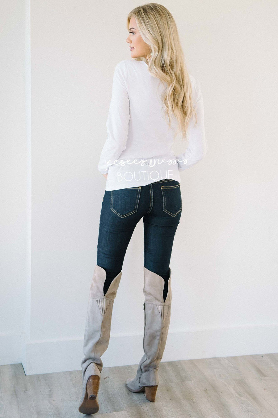 White Long Sleeve Layering Tee