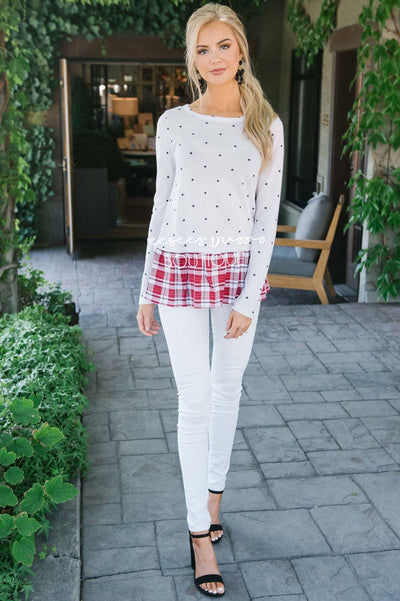Plaid Ruffle Hem Polka Dot Sweater Tops vendor-unknown