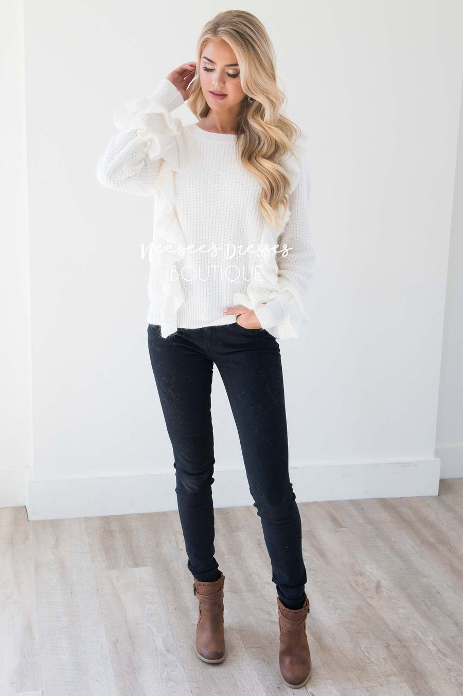 Perfect Romance Ruffle Knit Sweater Tops vendor-unknown